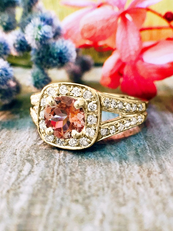 Pink Tourmaline and Diamond Halo Engagement <Prong/Pave> Solid 14K Yellow Gold (14KY) Wedding Ring