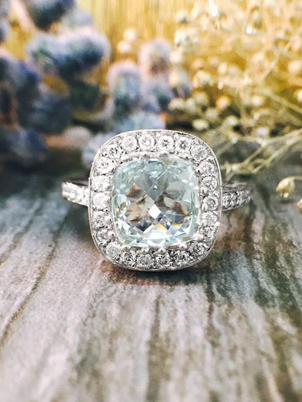 Aquamarine and Diamond Halo Engagement <Prong/Pave> Solid 14K White Gold (14KW) Colored Stone Wedding Ring