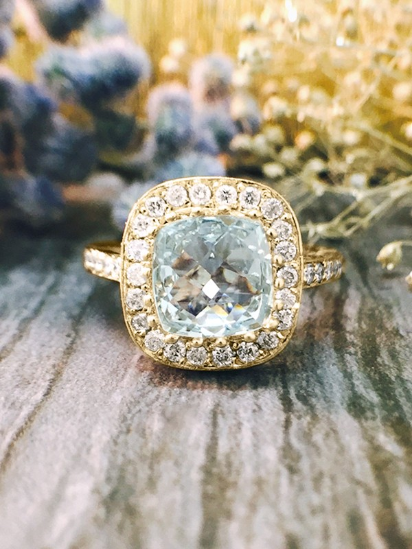 Aquamarine and Diamond Halo Engagement <Prong/Pave> Solid 14K Yellow Gold (14KY) Colored Stone Wedding Ring