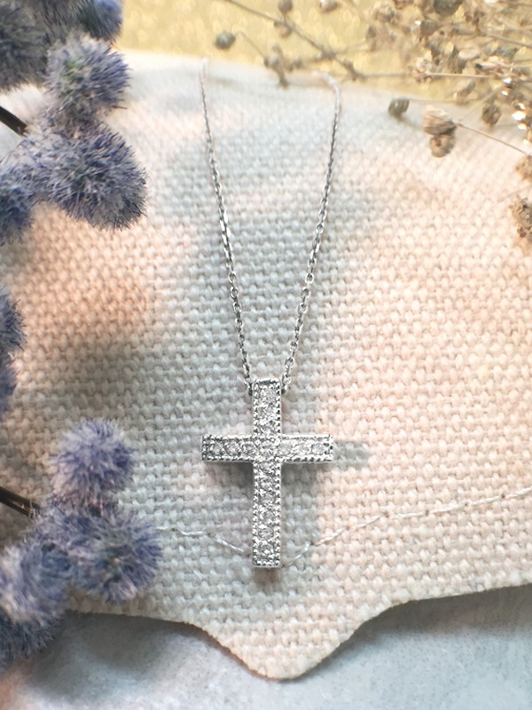 Cross Diamond Pendant <Pave> Solid 14K White Gold (14KW) with Bonus 14KW Chain Religious Necklace