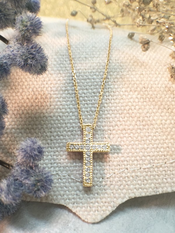 Cross Diamond Pendant <Pave> Solid 14K Yellow Gold (14KY) with Bonus 14KY Chain Religious Necklace