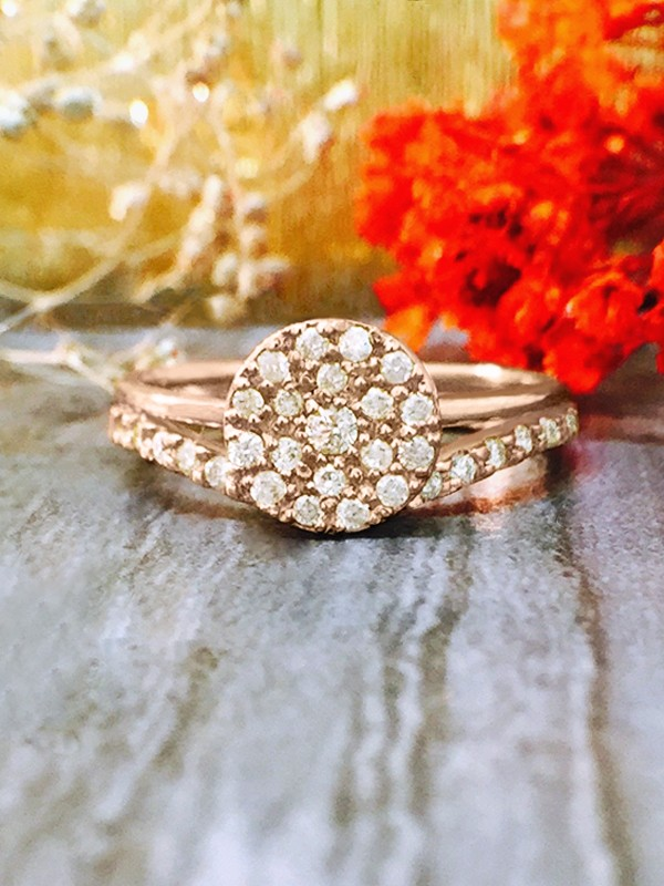 ENGAGEMENT SET: 7x7MM Diamond Cluster Disk <Pave> Solid 14K Rose Gold (14KR) Wedding Ring and Band