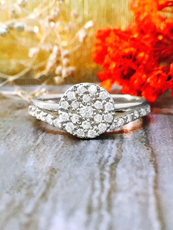 ENGAGEMENT SET: 7x7MM Diamond Cluster Disk <Pave> Solid 14K White Gold (14KW) Wedding Ring and Band
