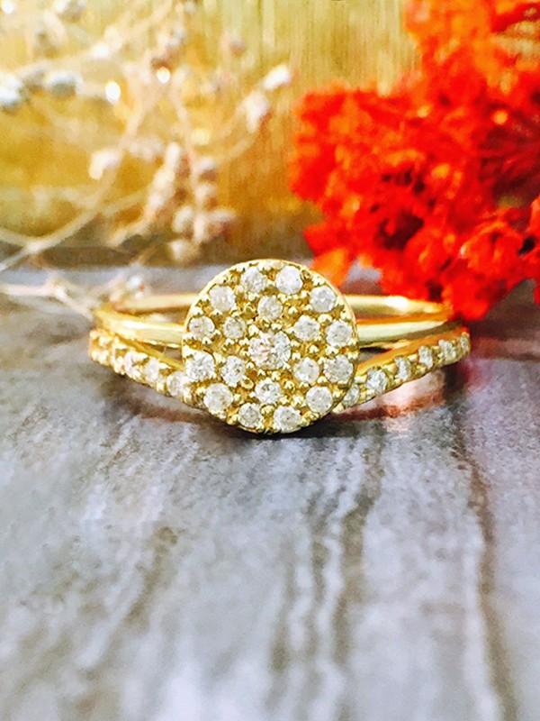 ENGAGEMENT SET: 7x7MM Diamond Cluster Disk <Pave> Solid 14K Yellow Gold (14KY) Wedding Ring and Band
