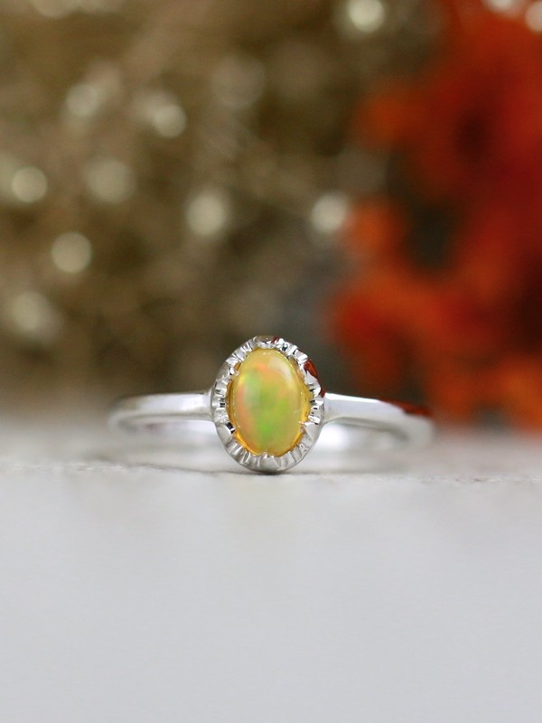 6x4MM Opal <Modified Prong> Solid 14K Rose Gold (14KR) Affordable Colored Stone Wedding Ring