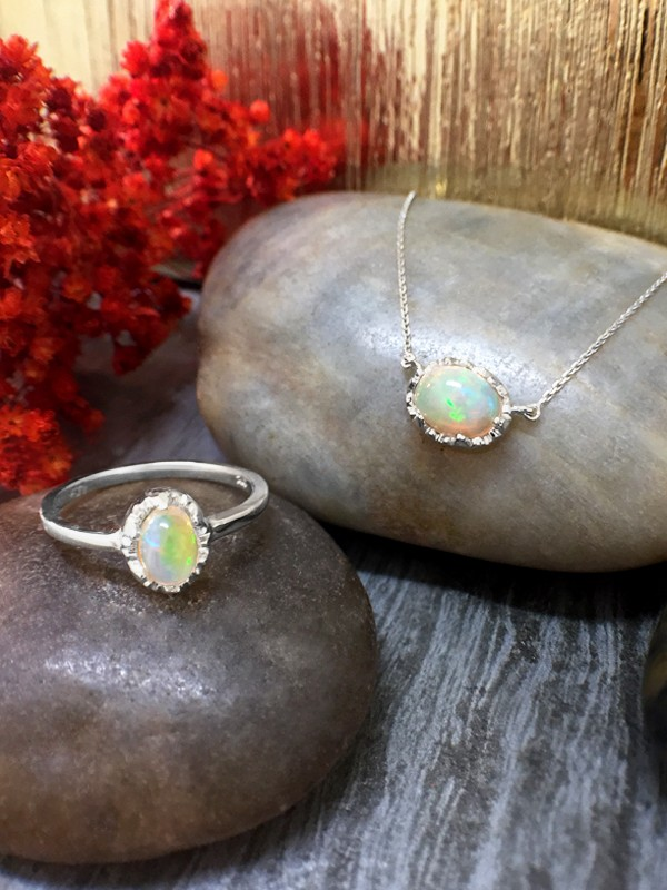 SET: Opal <Modified Prong> Solid 14K White Gold (14KW) Colored Stone Ring and Pendant Necklace