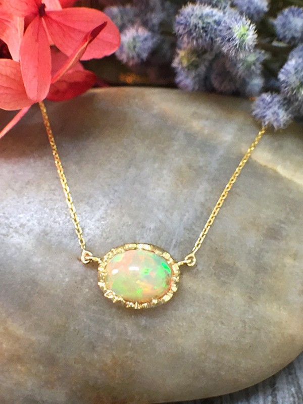 5x7MM Opal Pendant <Modified Prong> Solid 14K Yellow Gold (14KY) Colored Stone Chain Necklace