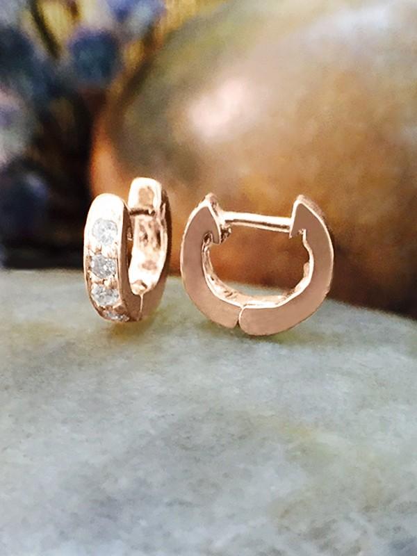 6MM Diamond Cartilage Hoop <Pave> Solid 14K Rose Gold (14KR) Minimalist Petite Piercing Earrings
