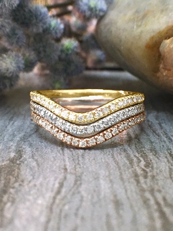 SET: Diamond Very Wavy Wedding Bands <4 Prong> Solid 14K Tri-Tone Gold (14KW, 14KR,14KY) Stackable Rings