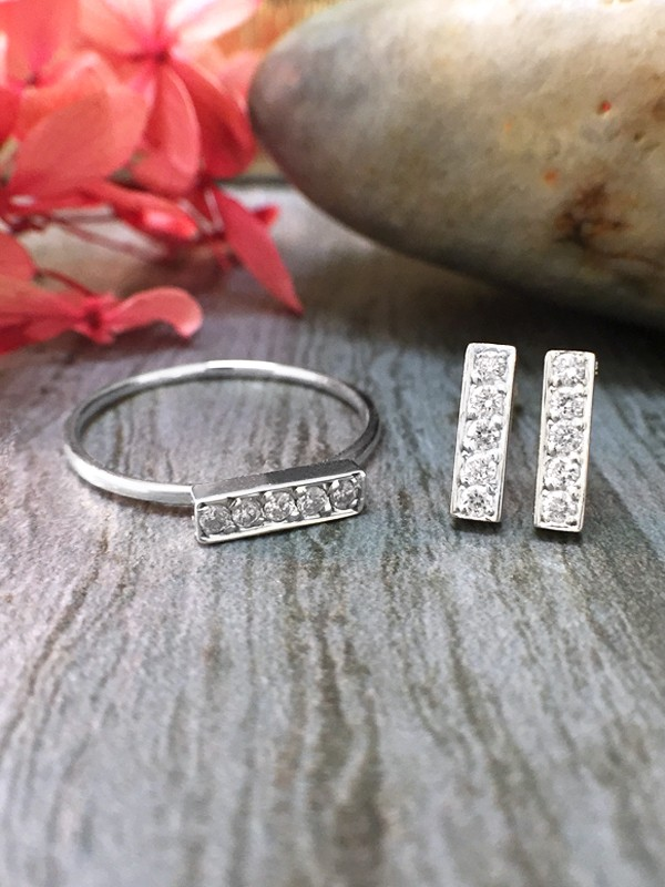 SET: Diamond Bar <Pave> Solid 14K White Gold (14KW) Minimalist Ring and Stud Earrings