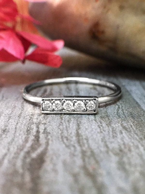 Diamond Bar <Pave> Solid 14K White Gold (14KW) Minimalist Stackable Ring