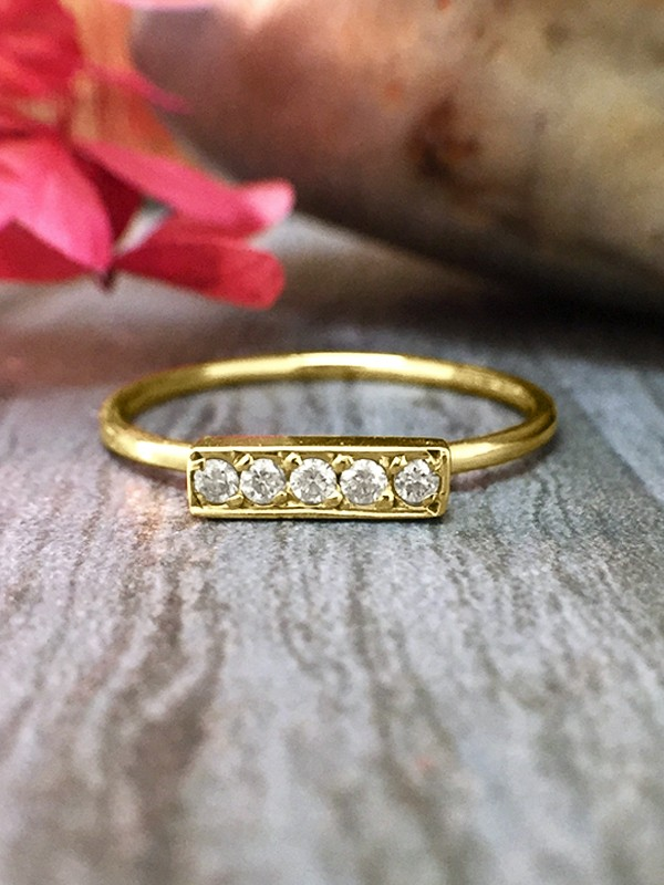 Diamond Bar <Pave> Solid 14K Yellow Gold (14KY) Minimalist Stackable Ring