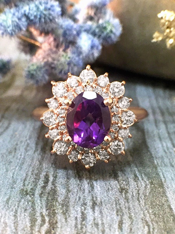 Amethyst and Diamond Halo Engagement <Prong> Solid 14K Rose Gold (14KR) Colored Stone Wedding Ring