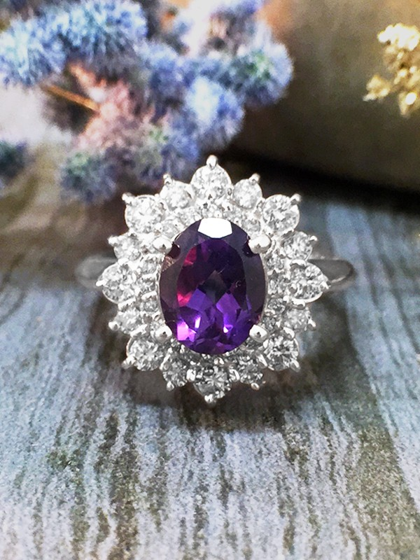 Amethyst and Diamond Halo Engagement <Prong> Solid 14K White Gold (14KW) Colored Stone Wedding Ring