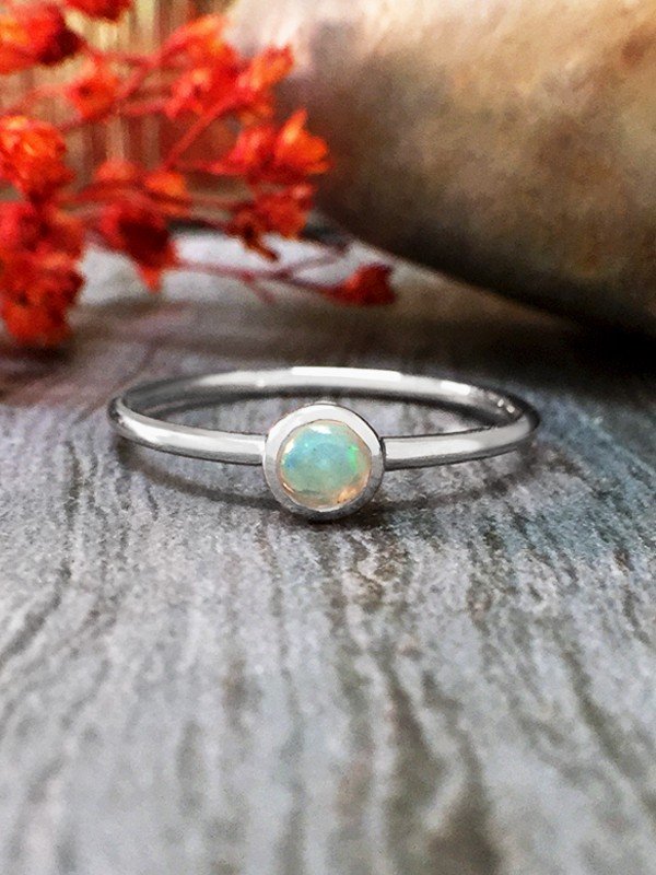 3.4MM Opal Solitaire <Bezel> Solid 14K White Gold (14KW) Colored Stone Stackable Ring