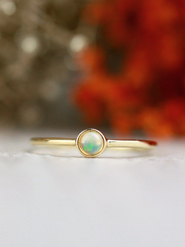 3.4MM Opal Solitaire <Bezel> Solid 14K Rose Gold (14KR) Colored Stone Stackable Ring