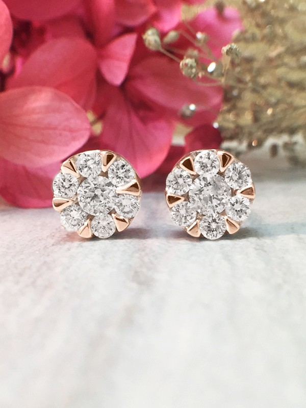 7.6x7.6MM Diamond Cluster Halo Stud <Modified Prong> Solid 14K Rose Gold (14KR) Earrings