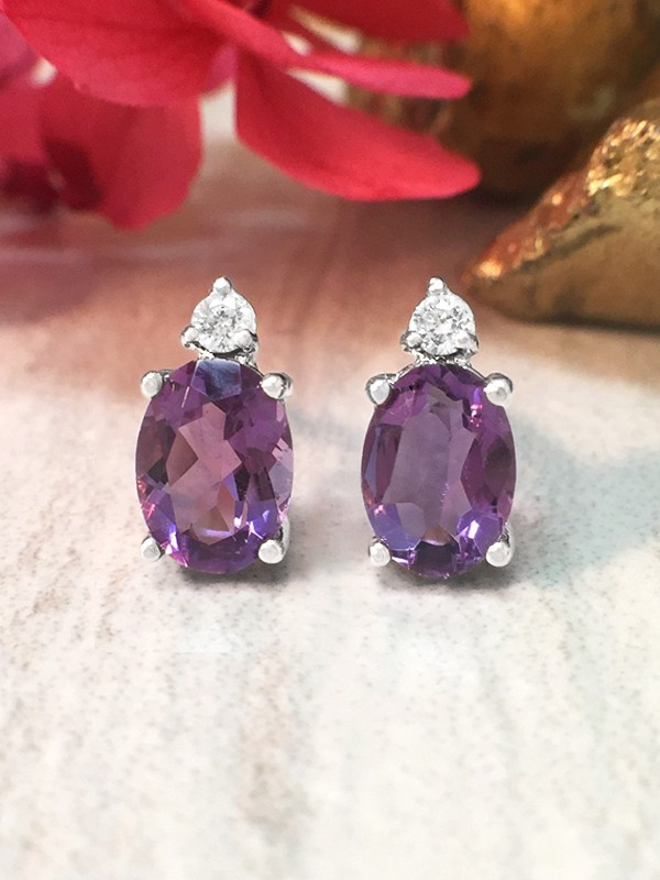 5x7MM Amethyst and Diamond Stud <Prong> Solid 14K White Gold (14KW) Colored Stone Earrings