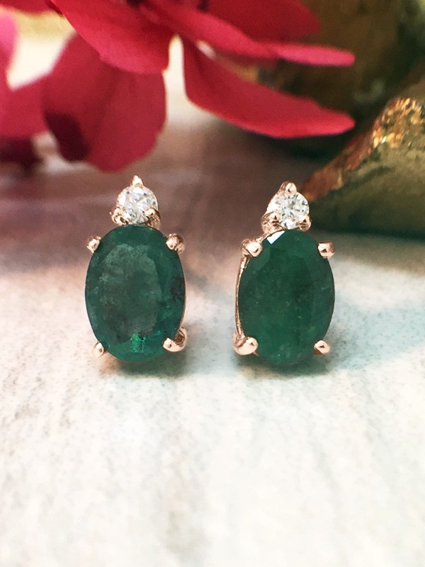 5x7MM Emerald and Diamond Stud <Prong> Solid 14K Rose Gold (14KR) Colored Stone Earrings