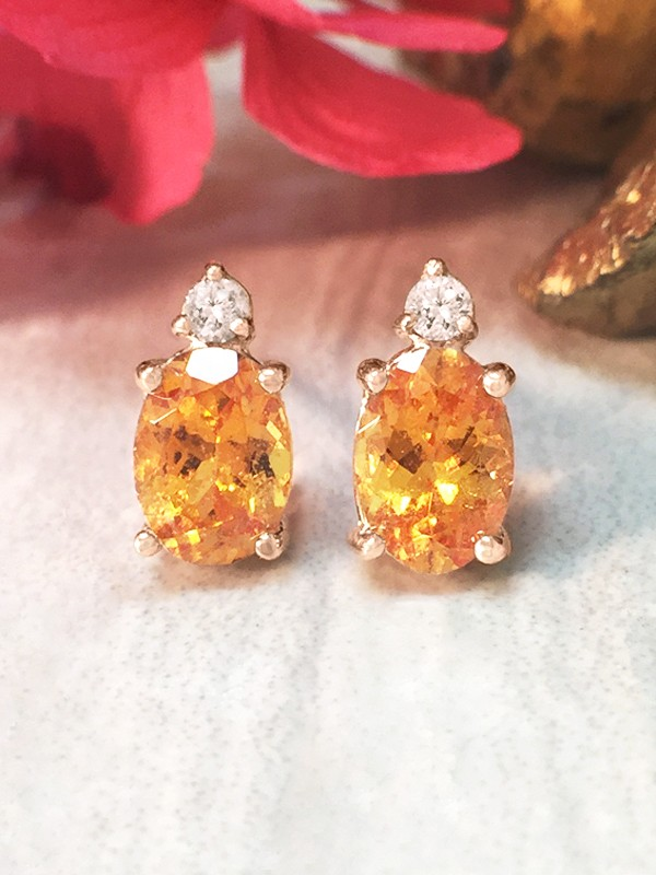 5x7MM Mandarin Garnet and Diamond Stud <Prong> Solid 14K Rose Gold (14KR) Colored Stone Earrings