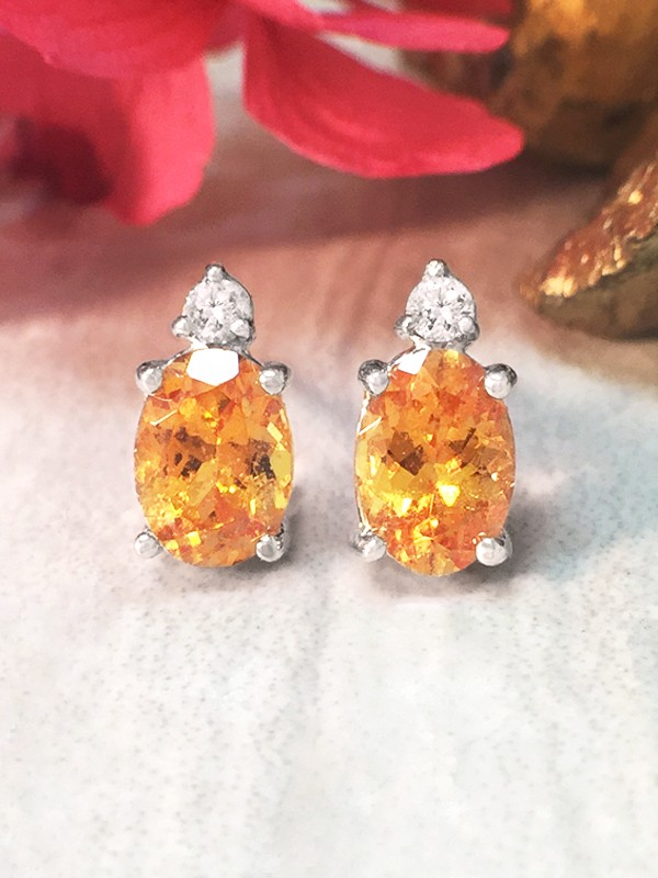 5x7MM Mandarin Garnet and Diamond Stud <Prong> Solid 14K White Gold (14KW) Colored Stone Earrings