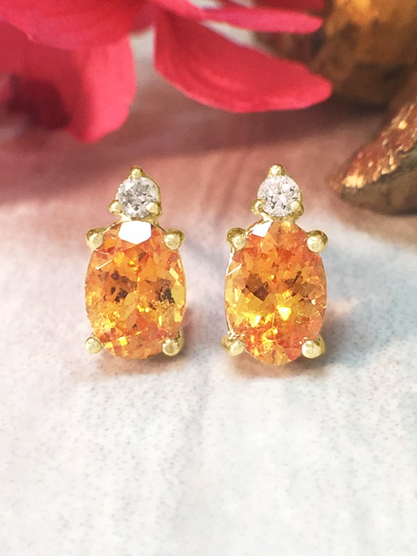 5x7MM Mandarin Garnet and Diamond Stud <Prong> Solid 14K Yellow Gold (14KY) Colored Stone Earrings