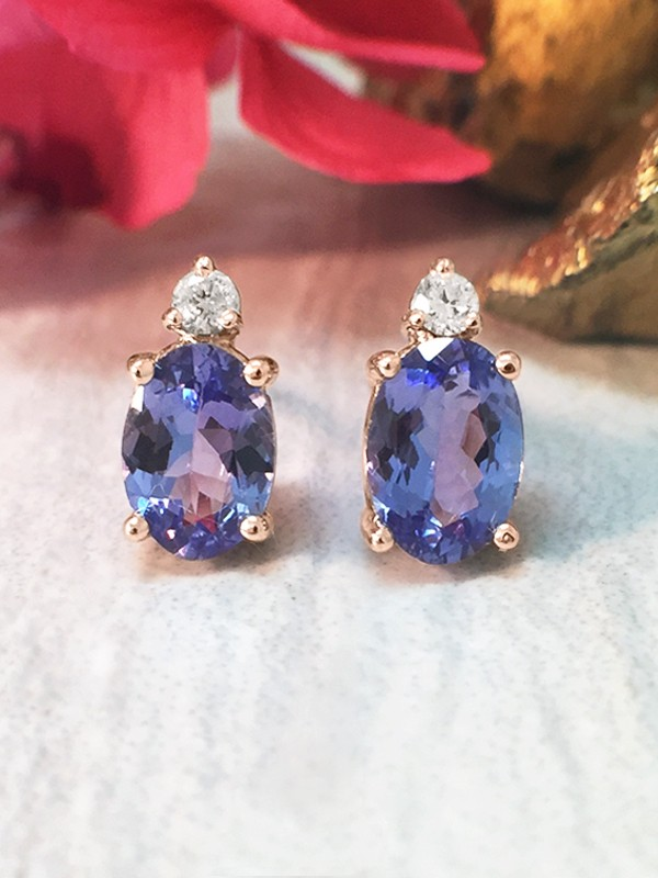 5x7MM Tanzanite and Diamond Stud <Prong> Solid 14K Rose Gold (14KR) Colored Stone Earrings