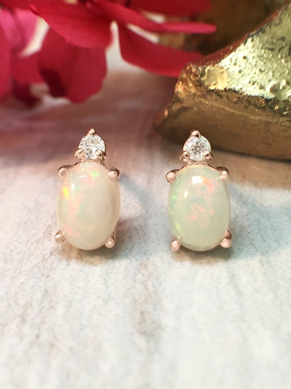 5x7MM Opal and Diamond Stud <Prong> Solid 14K Rose Gold (14KR) Colored Stone Earrings