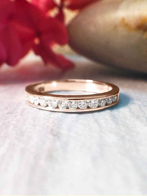 2.5MM Diamond Wedding Band <Channel> Solid 14K Rose Gold (14KR) Affordable Women's Engagement Ring