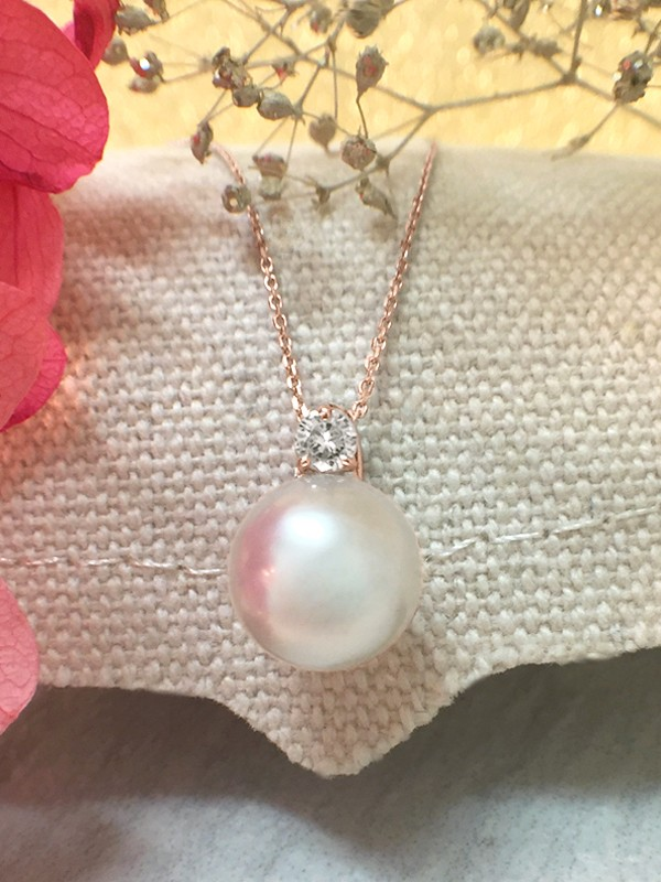 8MM Pearl and Diamond Pendant <Prong> Solid 14K Rose Gold (14KR) with Bonus Solid 14KR Chain Necklace
