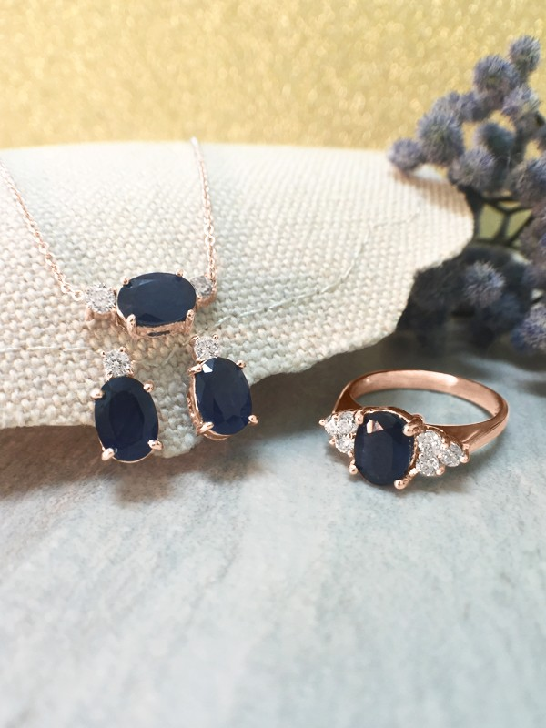 SET: Blue Sapphire and Diamond <Prong> Solid 14K Rose Gold (14KR) Ring, Stud Earring, and Necklace