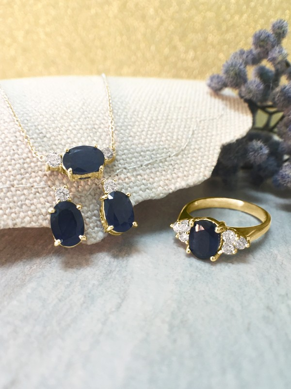 SET: Blue Sapphire and Diamond <Prong> Solid 14K Yellow Gold (14KY) Ring, Stud Earring, and Necklace