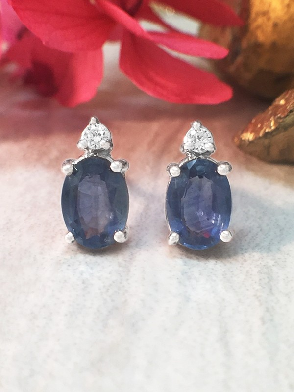 5x7MM Sapphire and Diamond Stud <Prong> Solid 14K White Gold (14KW) Colored Stone Earrings