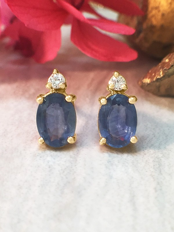 5x7MM Sapphire and Diamond Stud <Prong> Solid 14K Yellow Gold (14KY) Colored Stone Earrings