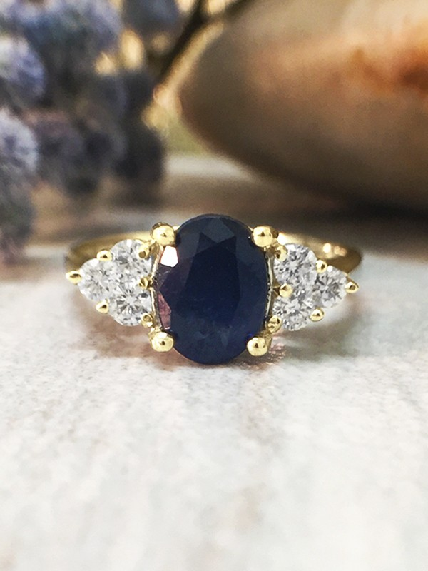 5x7MM Blue Sapphire and Diamond Engagement <Prong> Solid 14K Yellow Gold (14KY) Colored Stone Wedding Ring