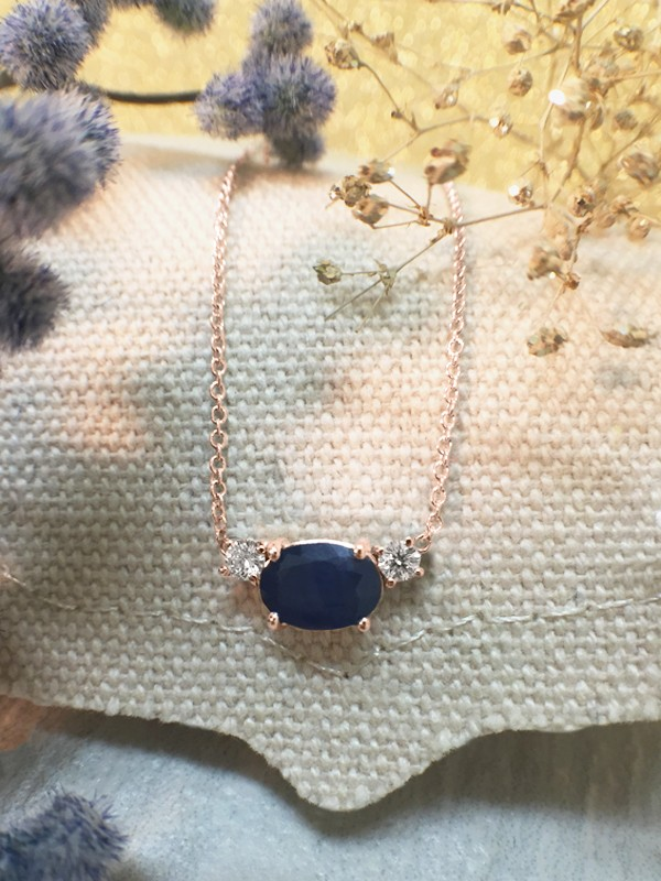 Blue Sapphire and Diamond Pendant <Prong> Solid 14K Rose Gold (14KR) Colored Stone Necklace