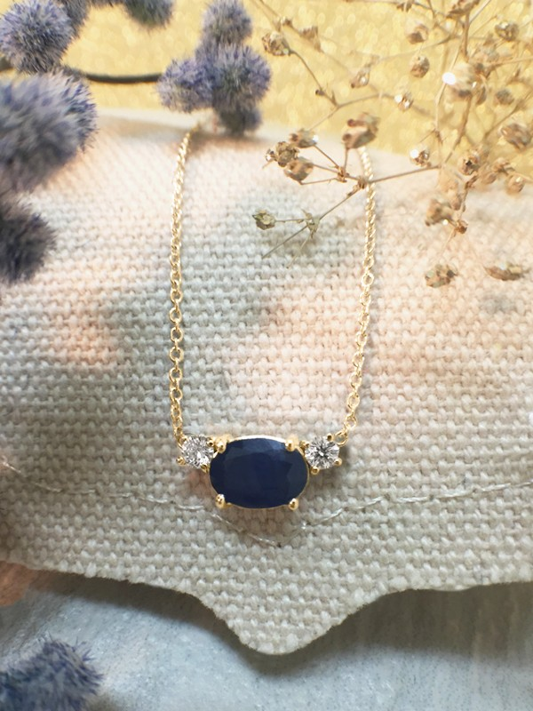 Blue Sapphire and Diamond Pendant <Prong> Solid 14K Yellow Gold (14KY) Colored Stone Necklace