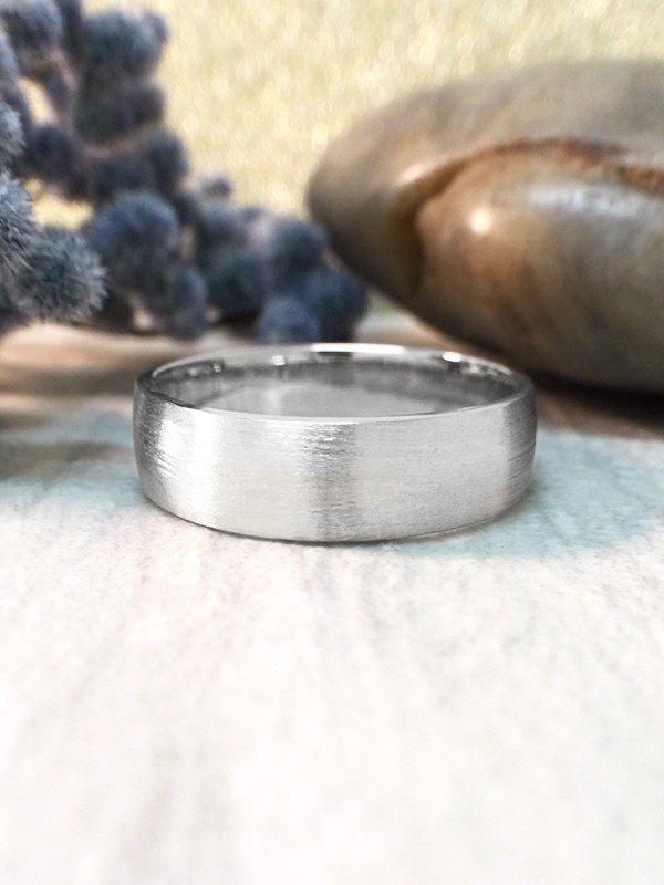 6MM Satin Finish Wedding Band Solid 14K White Gold (14KW) Affordable Modern Men's Engagement Ring