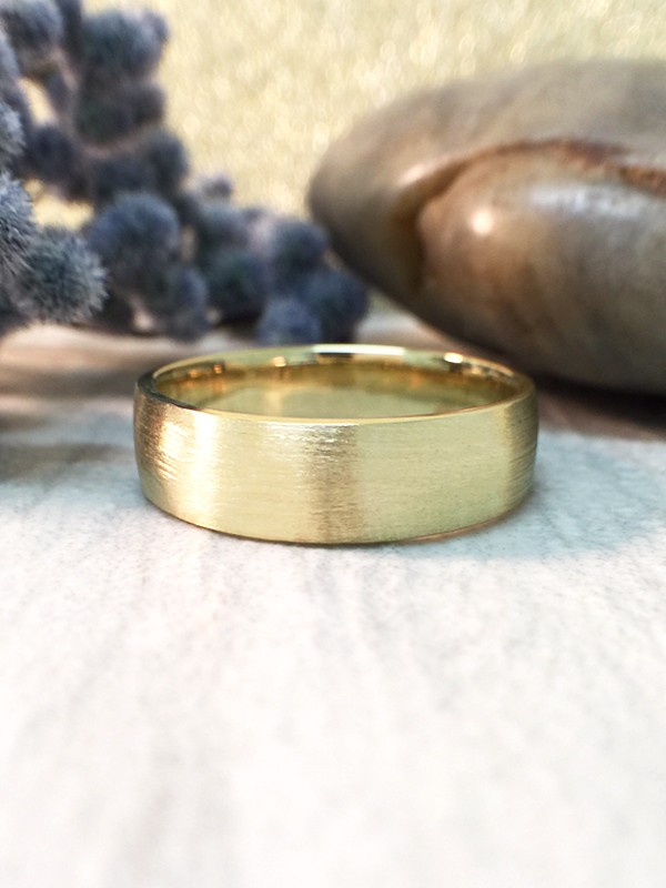 6MM Satin Finish Wedding Band Solid 14K Yellow Gold (14KY) Affordable Modern Men's Engagement Ring