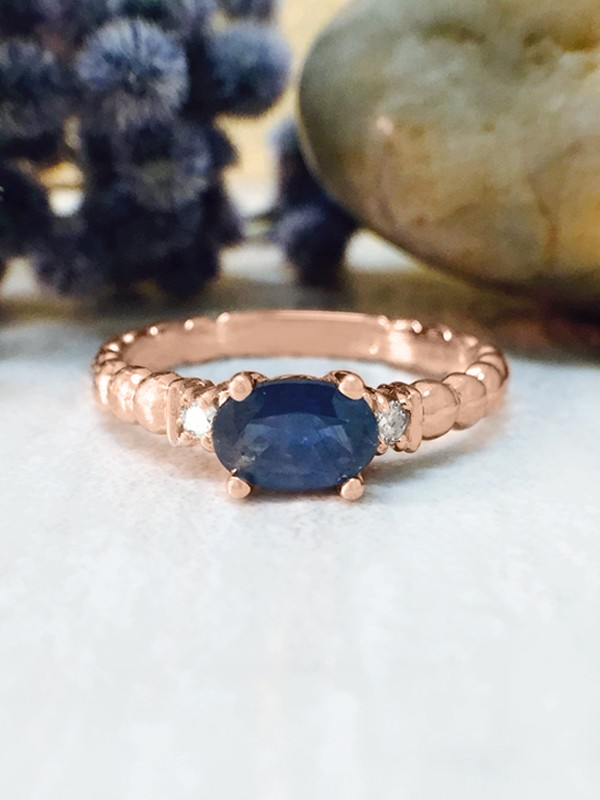 Blue Sapphire and Diamond Ring | Gemstone Engagement Ring | 6x4mm Sapphire Ring | Solid Gold | 14K Rose Gold | Fine Jewelry | Free Shipping
