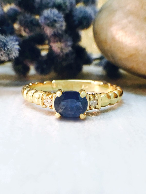 Blue Sapphire and Diamond Ring | Gemstone Engagement Ring | 6x4mm Sapphire Ring | Solid Gold | 14K Yellow Gold | Fine Jewelry |Free Shipping