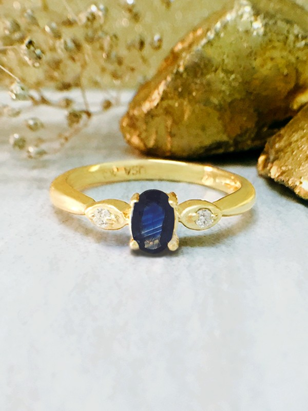 Blue Sapphire and Diamond Ring | Gemstone Engagement Ring | Solid 14K Yellow Gold | 5x3MM Blue Sapphire Ring | Fine Jewelry | Free Shipping