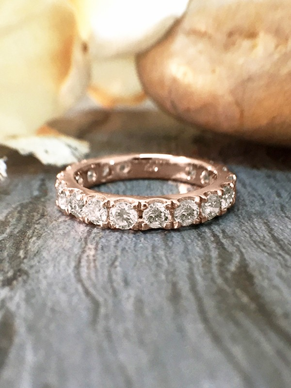 2.8MM Diamond Eternity with Sizing Bar Wedding Band <Four Prong> Solid 14K Rose Gold (14KR) Engagement Ring