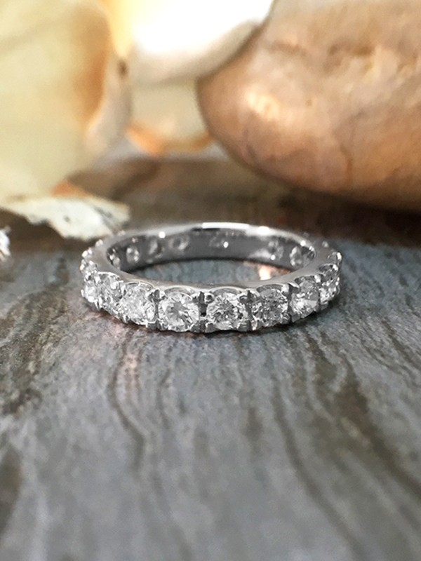 2.8MM Diamond Eternity with Sizing Bar Wedding Band <Four Prong> Solid 14K White Gold (14KW) Engagement Ring