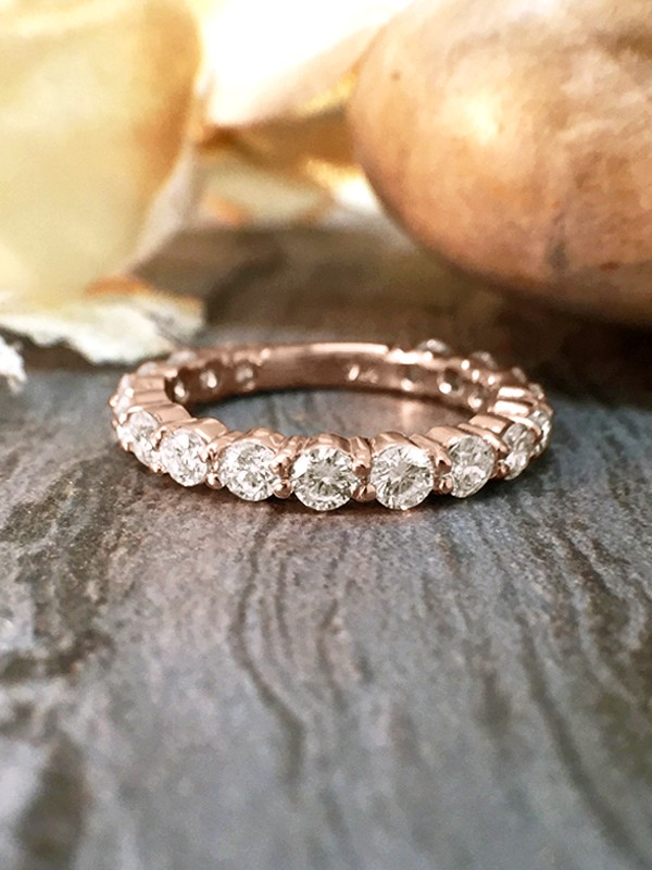 2.4MM Diamond Eternity with Sizing Bar Wedding Band <Shared Prong> Solid 14K Rose Gold (14KR) Engagement Ring