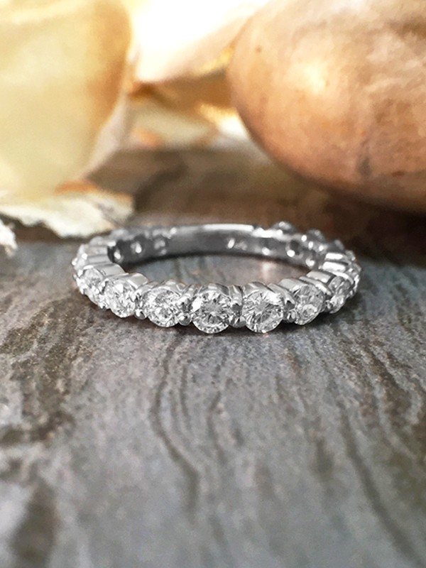 2.4MM Diamond Eternity with Sizing Bar Wedding Band <Shared Prong> Solid 14K White Gold (14KW) Engagement Ring