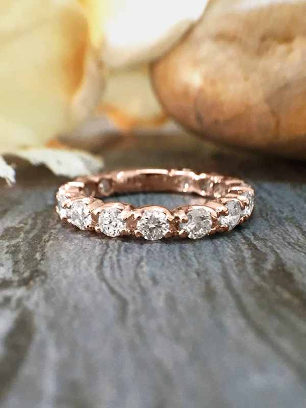 2.6MM Diamond Eternity with Sizing Bar Wedding Band <Four Prong> Solid 14K Rose Gold (14KR) Engagement Ring