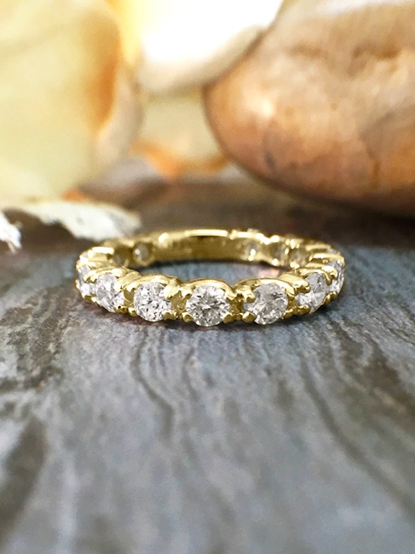 2.6MM Diamond Eternity with Sizing Bar Wedding Band <Four Prong> Solid 14K Yellow Gold (14KY) Engagement Ring