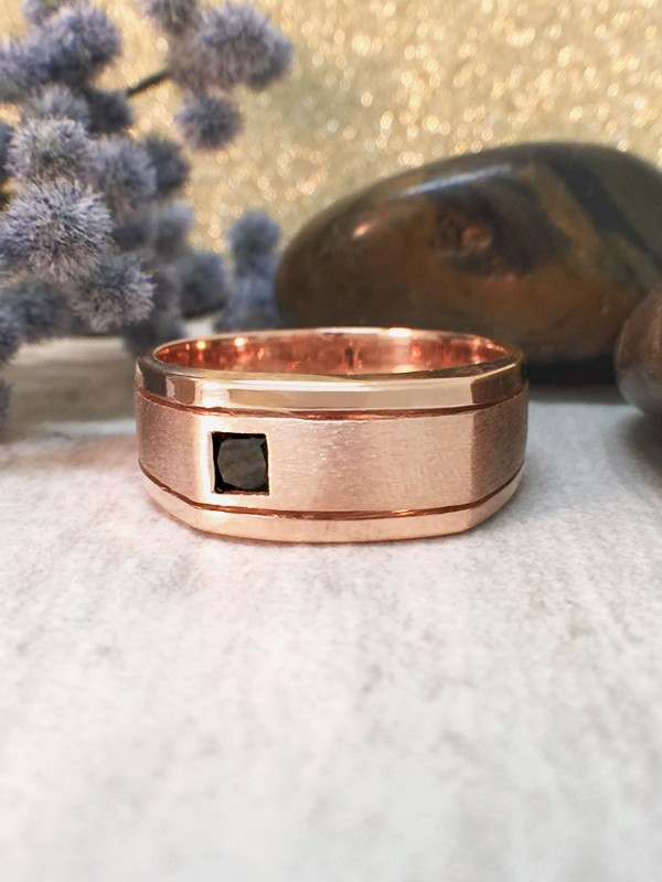 8.5MM Black Diamond Satin Finish and Polished Rim Wedding Band <Bezel> Solid 14K Rose Gold (14KR) Men's Ring