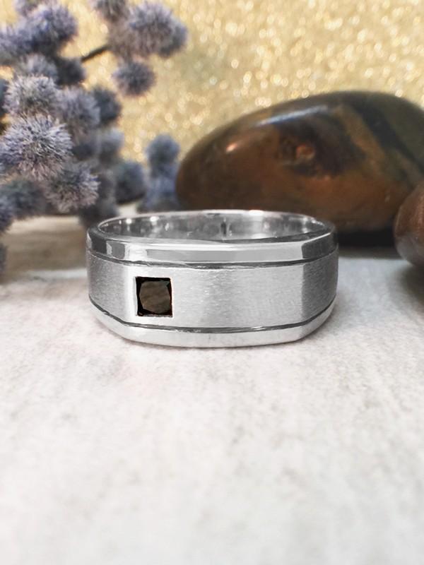 8.5MM Black Diamond Satin Finish and Polished Rim Wedding Band <Bezel> Solid 14K White Gold (14KW) Men's Ring